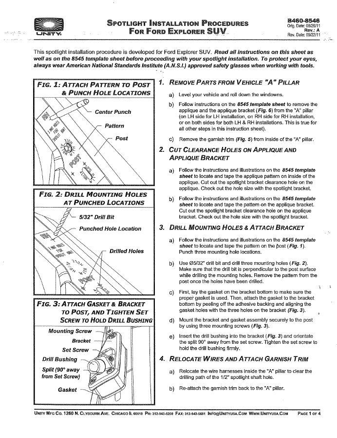 [SCHEMATICS_4JK]  8546 Explorer Spotlight Installation Instructions (PDF Copy) | Vintage Unity Spotlight Wiring Diagram |  | UnityUSA.com